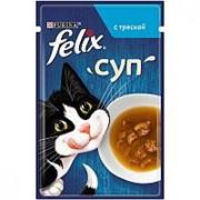 Felix 48г пауч Суп Влажный корм для взрослых кошек Треска фото