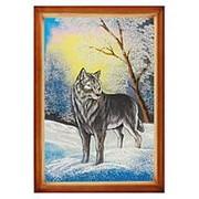 """Картина """"Волк"""" багет дерево 46х66 см фото"""
