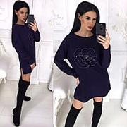 Платье-туника декорировано стразами АА/-1206 - Темно-фиолетовый фото