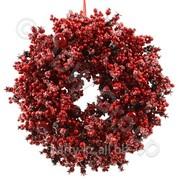 Декорация Венок с красными ягодами 36см фото