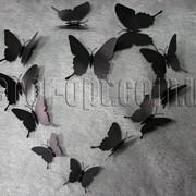 Бабочки пластиковые черные на булавке 6-12 см 12 шт 7440 фото