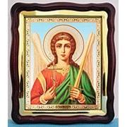 Икона аналойная большая в фигурном киоте, с багетом Ангел Хранитель пояс, 28х32 фото