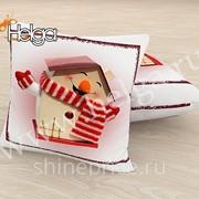 Новогодний домик арт.ТФП5104 (45х45-1шт) фотоподушка (подушка Габардин ТФП) фото