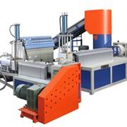 Двухшнековая машина для экструдизирования и грануляции водооборотным типом с горячей резкой на голове для переработки ПП, ПЭ ( с агломератором) PUSJ-AW140/140 фото