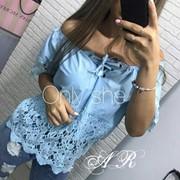 Женская летняя блуза с кружевом АР-37-0717 фото