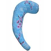 С-образная подушка для беременных Голубая с цветами фото