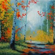 Картина, пейзаж, осенний лес фото