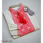 Удобная льняная рубашка для мужчин с красной вышивкой (Б-20) фото