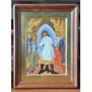 """Икона """"Воскресение Христово"""" в дереянном киоте фото"""