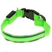 Светящийся ошейник со светоотражателем, 38-40 см, Зеленый фото