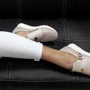 Женские кожанные слипоны с перфорацией, в моделях. ДС-8-0618 фото