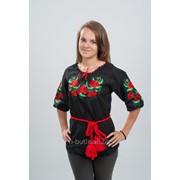 Женская вышиванка Розочки (красно-черная вышивка) 50 фото