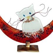 """Сувенир из стекла """"Луна и кот"""" фото"""
