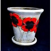 """Горшок для цветов из керамики ручной работы """"Ромашка средняя маки"""" фото"""