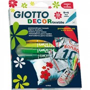 Набор стойких фломастеров для ткани GIOTTO Decor Textile 12 цветов фото