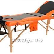 Складной 3-х секционный деревянный массажный стол BodyFit, черно-оранжевый фото