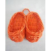 Тапочки из ротанга оранжевые 16*16*6см фото