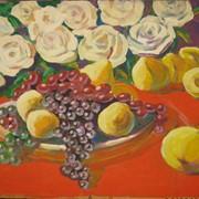 Картина Натюрморт цветы и фрукты фото