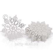 Декор Снежинка с блеском белая 10см 12шт,уп фото