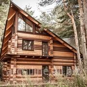 Трехэтажный деревянный дом из бревна 214 м² фото