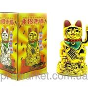 Кошка с машущей лапой, Манэки-Неко, цвет Золотой (11,5*7*7см) фото