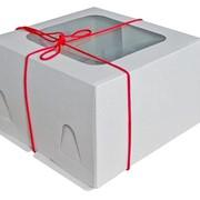 Коробка для торта на 3 кг 300*300*190мм, белая с окном фото