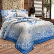 Комплект постельного белья семейное Бязь Цветок на голубом фото