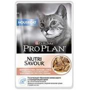Pro Plan 85г пауч NutriSavour Housecat Влажный корм для взрослых домашних кошек Лосось (соус) фото