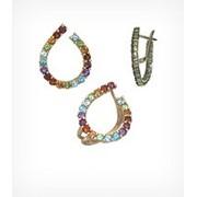 Кольцо и серьги с цветными природными камнями, арт. 146 фото