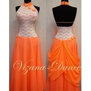 Платье стандарт Юн-1 Оранжевое небо. Платье оранжевого цвета, лиф из стрейчевого гипюра, декорирован цветами. Юбка шифоновая 2-х ярусная фото
