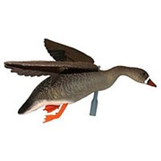 Чучело гуся белолобый летящий, крепеж на палку, подвижн.крылья для веревки, пластик, не складной, матовый, 800гр./1шт. фото