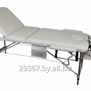 Складной 3-х секционный алюминиевый массажный стол BodyFit, бежевый фото
