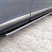 Пороги Infiniti QX60 2013- наст. время (алюм. с пласт. накладкой карбон/серебро 1820 мм) фото