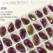 Пришивные стразы Swarovski. Капля 18х10,5. Lilac Shadow фото