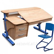 """Письменный стол школьнику """"Эргономический"""" деревянный + стул фото"""