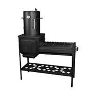 Мангал с коптильней и печью для казана Профи (130х40х155см, 55кг) фото