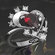 Кольцо из белого золота 585 пробы с рубином огранки «груша» и бриллиантами фото