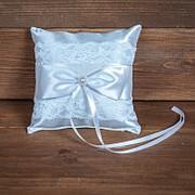 Свадебная подушечка для колец с кружевом (арт. CR-201) фото