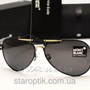 Мужские солнцезащитные очки Montblanc 375 цвет черный с золотом фото