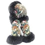 Комплект: шапка-ушанка и варежками с мехом песца дымчатого цвета фото