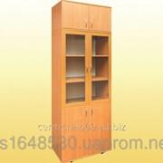 Шкаф книжный со стеклянными дверцами, с антресолью, 802х403х2186 мм., 0641Р+0653 фото