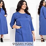 Платье женское миди с накладными карманами и разрезами по бокам (3 цвета) АИ/-7127 - Джинсовый фото