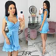 Летнее голубое женское платье с имитацией запаха (4 цвета) ЕФ/-560 фото