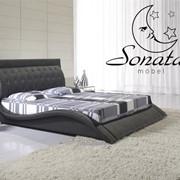 Стильная кровать черного цвета! Кожаная кровать черная. Купить кожаную кровать.