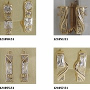 Серьги золотые ( Au), золото 585° пробы с драгоценными, полудрагоценными и синтетическими вставками фото