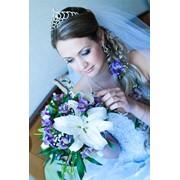 Букет свадебный с фиолетовым оттенком фото