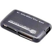 Считыватель карт памяти картридер usb 2.0 Spire SP-333CR CF, XD, SD-MMC, MS - темный, прозрачный фото