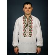 Колоритная, вышитая крестиком, белая рубашка с растительным орнаментом для мужчин (chsv-14-01) фото