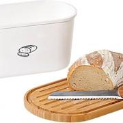 Хлебница с крышкой-доской для нарезания KESPER белая (18090) фото