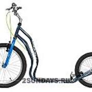 Городской самокат Yedoo Mezeq V-BRAKE NEW серый-синий на больших надувных колесах фото